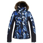 Roxy Skijassen Jet Ski Premium Mazarine Blue Striped Leaves Voorstelling