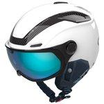 Bolle Skihelm mit Visier V-line Carbon White Matte Phantom Blue Lens Cat 1-3 Präsentation